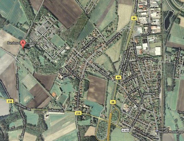 Lage des Lagers Hesepe - Google Maps Satellit